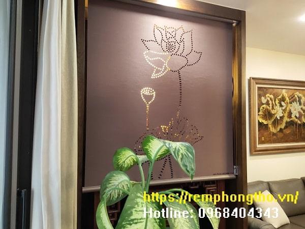 rèm cuộn vải hoa sen AL002