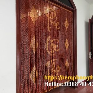 Rèm thờ hạt gỗ hương đỏ C55